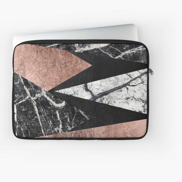 Elegant Modern Marble, Rose Gold, & Black Foil Triangles Laptop Sleeve