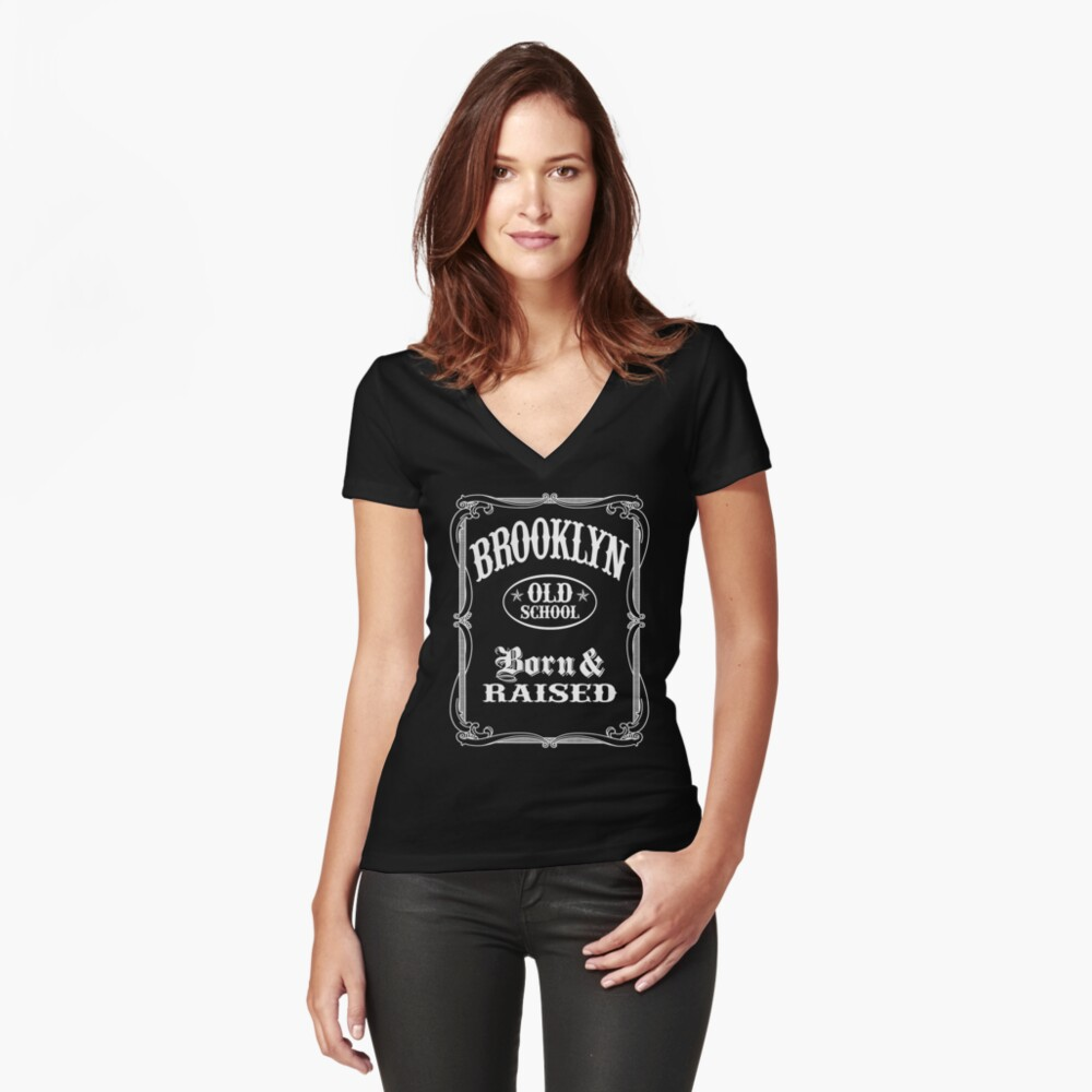 Brooklyn New York Old School Women's Fitted V-Neck T-Shirt Front