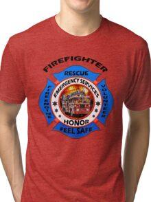 Fire fighter vintage logo desing gifts Tri-blend T-Shirt