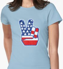USA Flag Peace Hand (Vintage Distressed Design) T-Shirt
