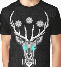 Geometric Silver Deer Graphic T-Shirt