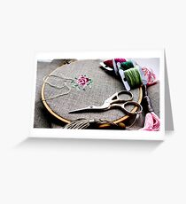 Cross stitch rose on embroidery hoop Greeting Card