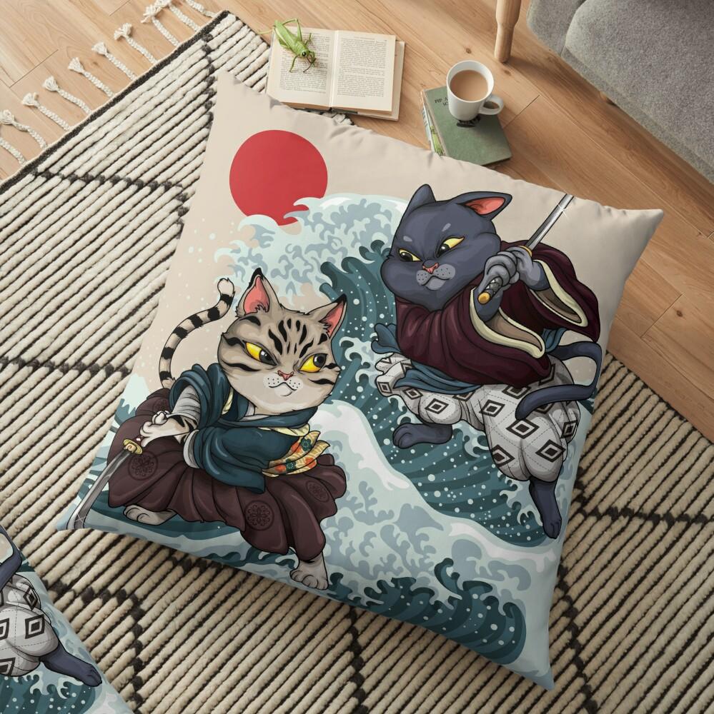 Samurai Cat Brawl Floor Pillow