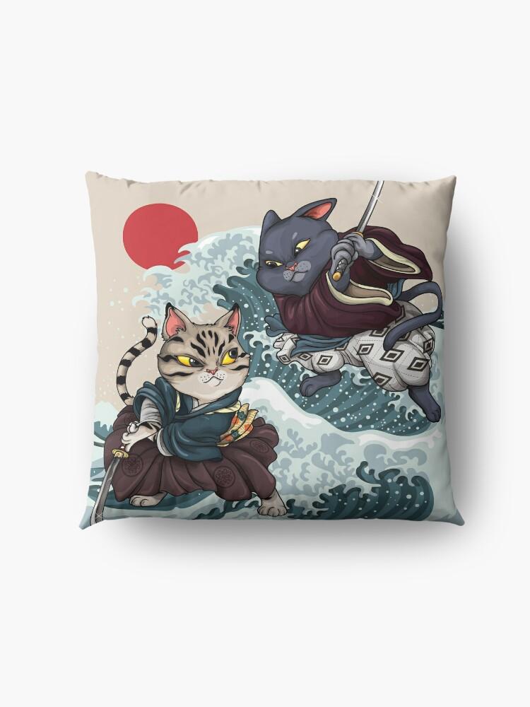 Alternate view of Samurai Cat Brawl Floor Pillow