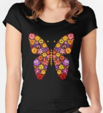 Flowers butterfly silhouette Women's Fitted Scoop T-Shirt
