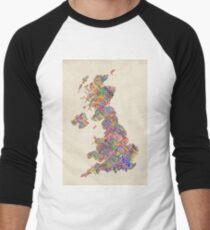Great Britain UK City Text Map Men's Baseball ¾ T-Shirt