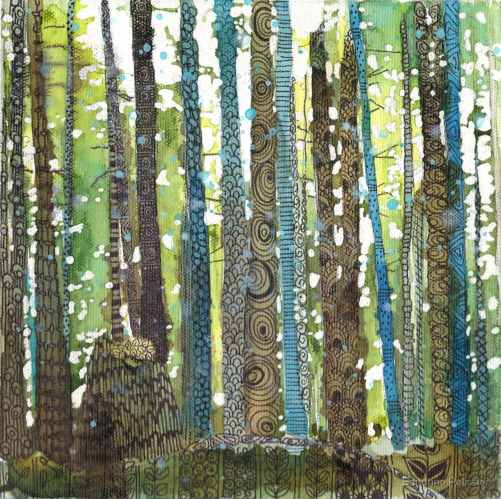 Morning walk, acrylic and zentangles on canvas by Sandrine Pelissier