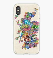 Schottland-Typografie-Text-Karte iPhone-Hülle & Cover