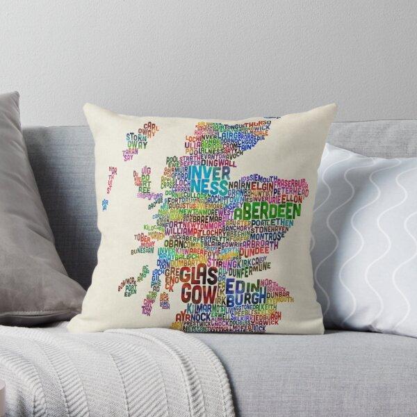 Scotland Typography Text Map Throw Pillow