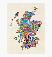 Scotland Typography Text Map Photographic Print