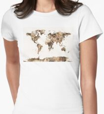 Map of the World Map Sepia Watercolor Womens Fitted T-Shirt