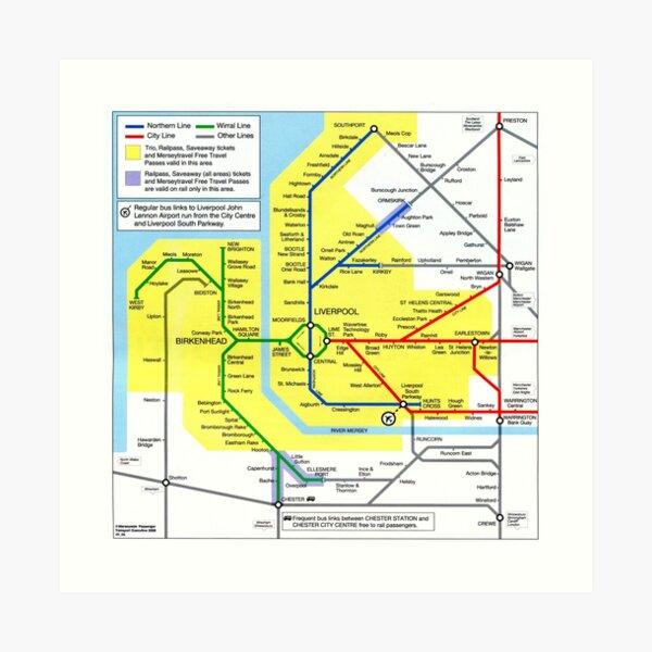Merseyrail + city lines map Art Print