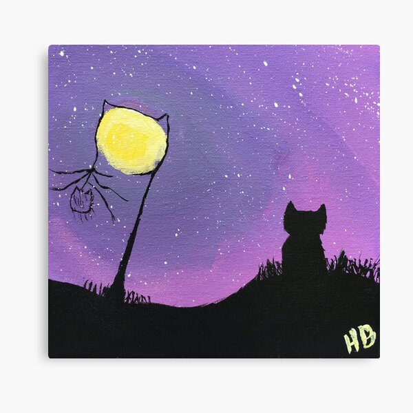 Cat gazing at a purple sky Canvas Print