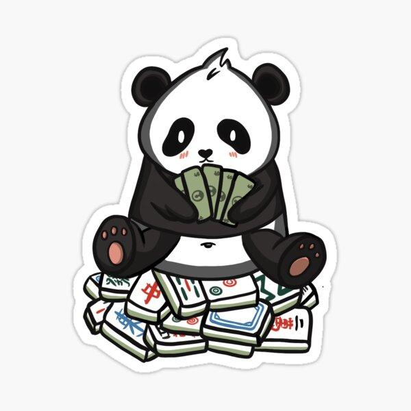 panda sitting on mahjong tiles Sticker