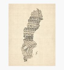 Old Sheet Music Map of Sweden Photographic Print