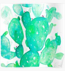 Green Watercolour Cactus Poster