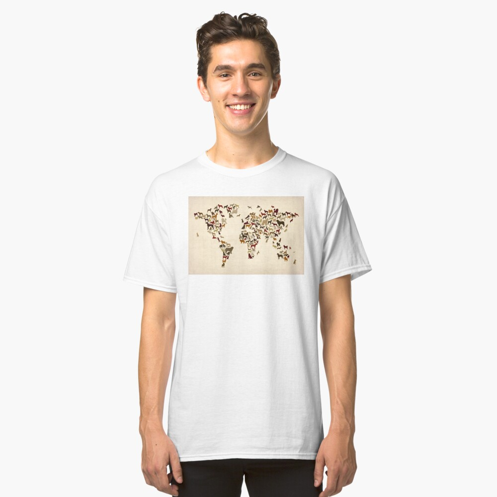 Dogs Map of the World Map Classic T-Shirt Front
