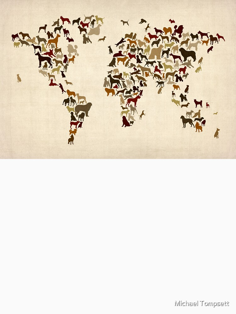 Dogs Map of the World Map by ArtPrints