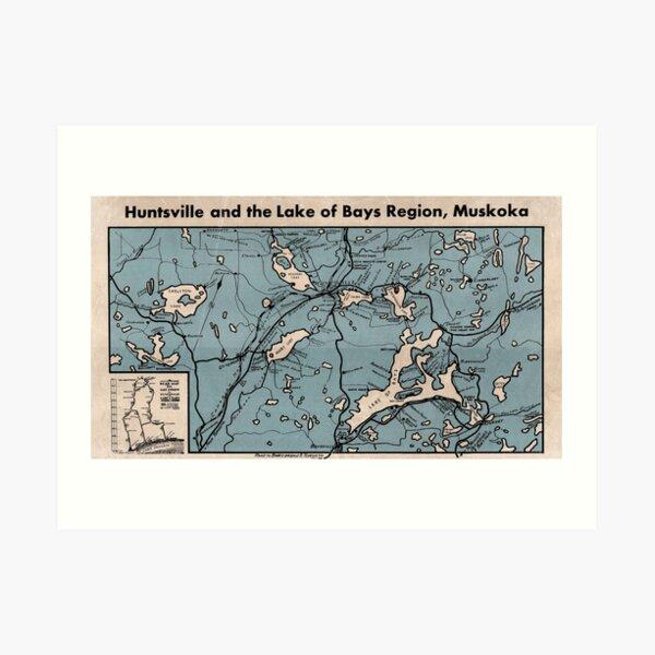 Huntsville and Lake of Bays Region of Muskoka Map Art Print