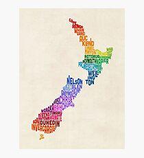 Lámina fotográfica New Zealand Typography Text Map