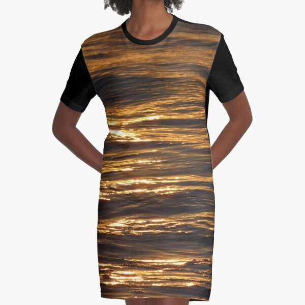 Gold Ocean at Sunset  Graphic T-Shirt Dress