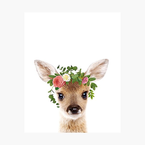 Baby Deer With Flower Crown, Baby Animals Art Print by Synplus Photographic Print