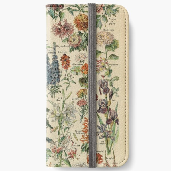 Vintage Flower Drawing iPhone Wallet