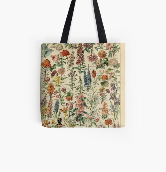 Vintage Flower Drawing All Over Print Tote Bag