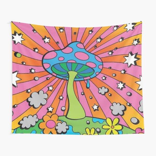 trippy mushrooms stars design Tapestry