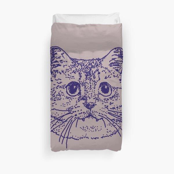 Blue Kitty 4 on grey Duvet Cover