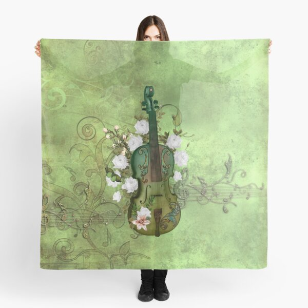 Wonderful elegant violin with flowers, clef and key notes Scarf