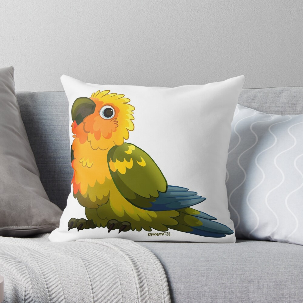 Sun Conure Throw Pillow By Kbbutcherart Redbubble