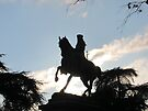 Garibaldi in silhouette, Siena, Italy by David Carton