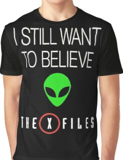 X-File Still Want To Believe Alien Head Graphic T-Shirt