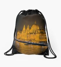 Hungarian Parliament Night Color Drawstring Bag