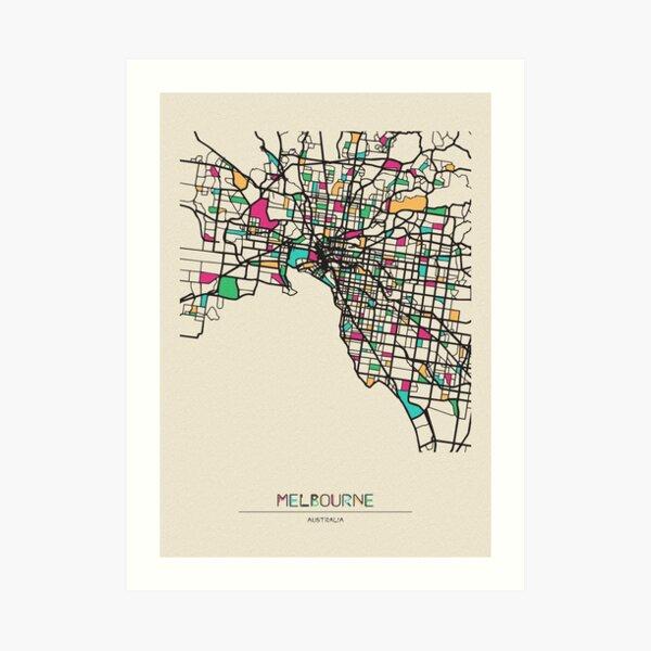 Melbourne, Australia Street Map Art Print