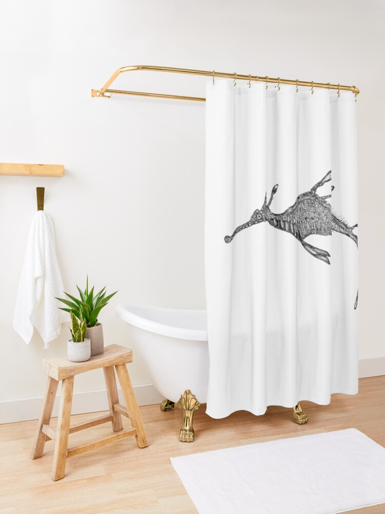 Alternate view of Jennifer the Weedy Sea Dragon Shower Curtain