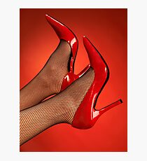 Woman legs in red high heel shoes up in the air art photo print Photographic Print