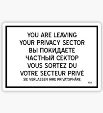 Your are leaving your Privacy Sector Sticker