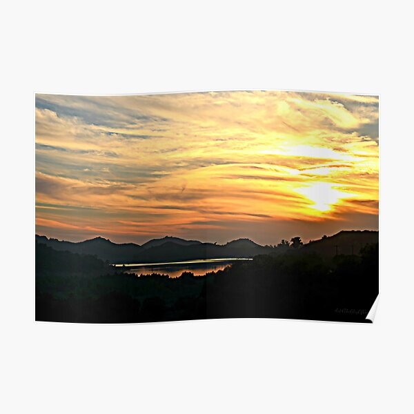 Sunset Over Lake Wohlford ~ digital paint effect Poster