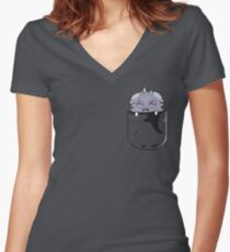 Pocket Espurr Women's Fitted V-Neck T-Shirt