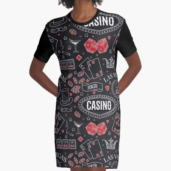 Casino theme. Seamless pattern with decorative elements on chalkboard. Gambling symbols.  Graphic T-Shirt Dress