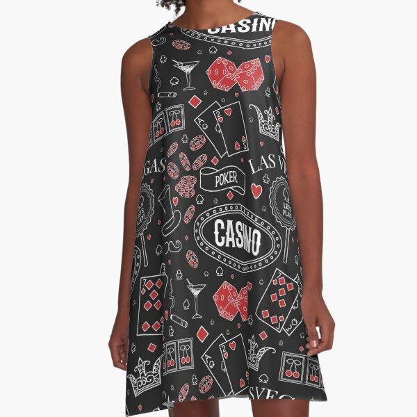 Casino theme. Seamless pattern with decorative elements on chalkboard. Gambling symbols.  A-Line Dress