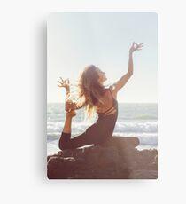Yoga: Woman in Pigeon Pose Metal Print