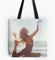 Yoga: Woman in Pigeon Pose Tote Bag