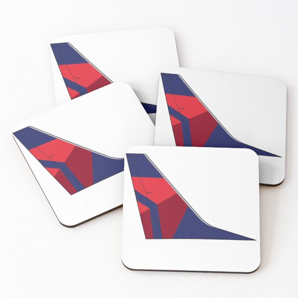 """Delta Air Lines """"Onward and Upward"""" Boeing 737-800 Tail (Right Facing) Coasters (Set of 4)"""