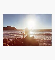 Young Woman Doing Beach Yoga Photographic Print