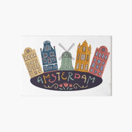 Amsterdam. Old historic buildings and traditional architecture of Netherlands. Windmill and houses with hand drawn lettering. Art Board Print