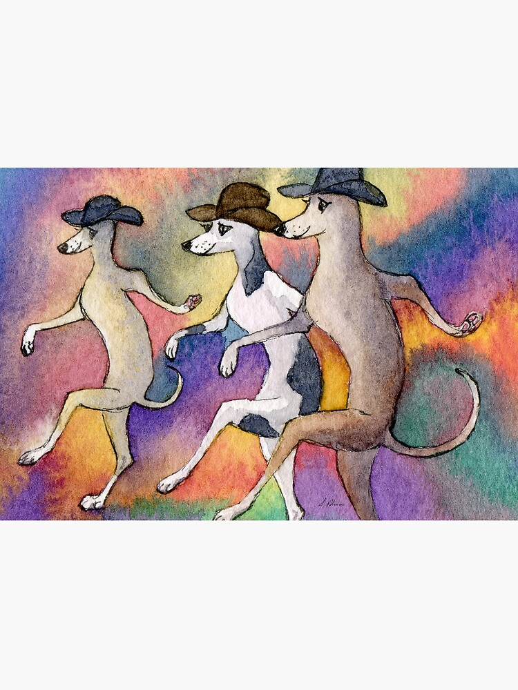 One step forward, two steps back... line dancing greyhounds by SusanAlisonArt