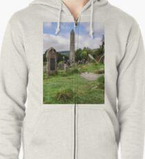 Glendalough Tower, Ireland  Zipped Hoodie